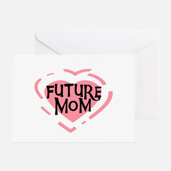 Pink Heart Future Mom Greeting Card