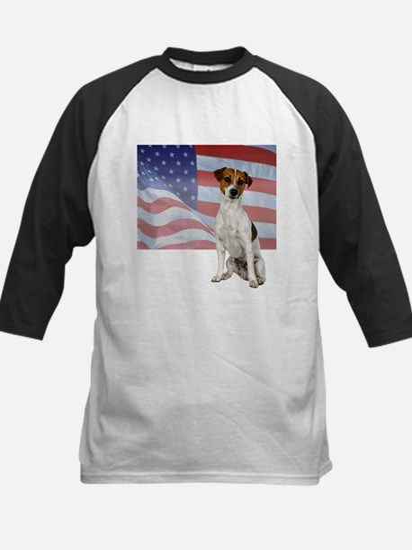 Patriotic Jack Russell Terrier Kids Baseball Jerse