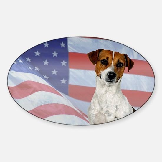 Patriotic Jack Russell Terrier Sticker (Oval)