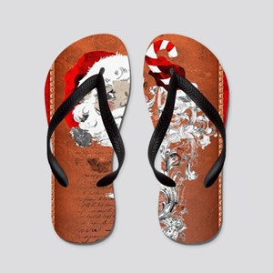 Funny Santa Claus on red background Flip Flops