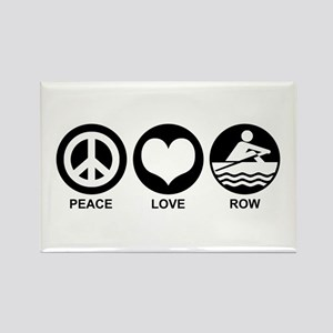 Peace Love Row Rectangle Magnet