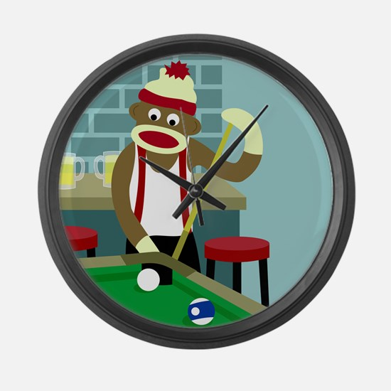 Sock Monkey Pool Billiards Large Wall Clock