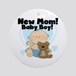 New Mom Baby Boy Ornament (Round)
