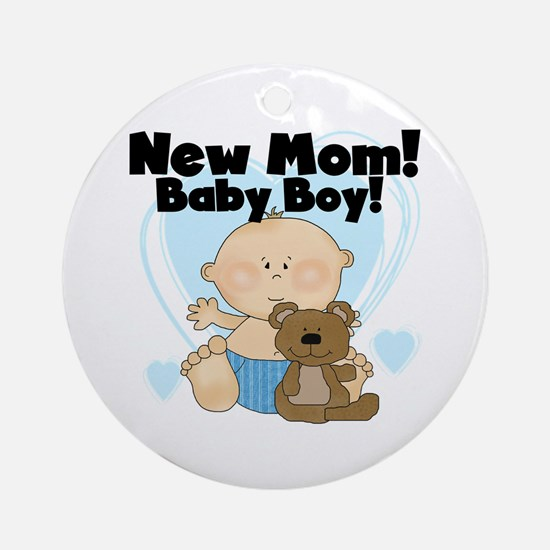 New Mom Baby Boy Ornament (Round)