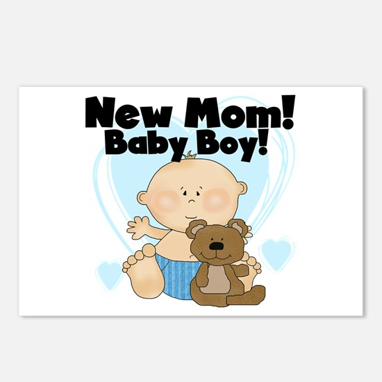 New Mom Baby Boy Postcards (Package of 8)