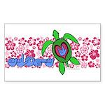 ILY Aloha Hawaii Turtle Sticker (Rectangle)
