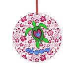 ILY Aloha Hawaii Turtle Ornament (Round)