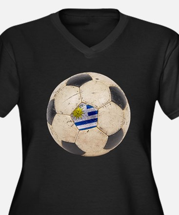 Uruguay Football Women's Plus Size V-Neck Dark T-S