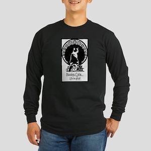 Books,Cats,Life is good Long Sleeve Dark T-Shirt