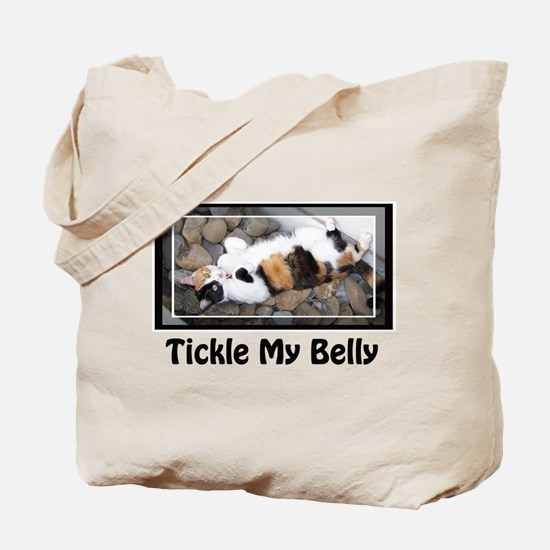 Tickle my Belly Calico Cat Tote Bag