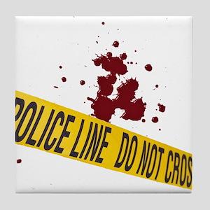 Police line with blood spatte Tile Coaster