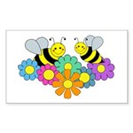 Bees & Flowers Sticker (Rectangle 50 pk)