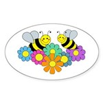 Bees & Flowers Sticker (Oval 50 pk)