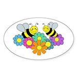 Bees & Flowers Sticker (Oval)