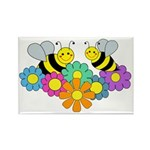 Bees & Flowers Rectangle Magnet (100 pack)