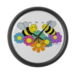 Bees & Flowers Large Wall Clock