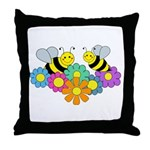 Bees & Flowers Throw Pillow