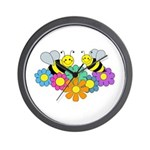 Bees & Flowers Wall Clock