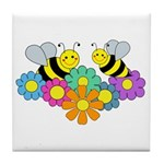 Bees & Flowers Tile Coaster