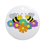 Bees & Flowers Ornament (Round)