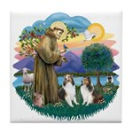 St Francis (Wff) - Two Shelties Tile Coaster