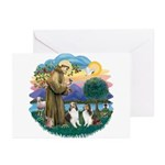 St Francis (Wff) - Two Shelties Greeting Cards (Pk