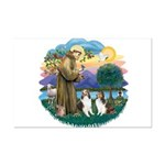 St Francis (Wff) - Two Shelties Mini Poster Print