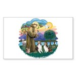 St Francis (Wff) - Two Shelties Sticker (Rectangle