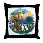 St Francis (Wff) - Two Shelties Throw Pillow