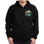 St Francis (Wff) - Two Shelties Zip Hoodie (dark)