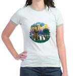 St Francis (Wff) - Two Shelties Jr. Ringer T-Shirt