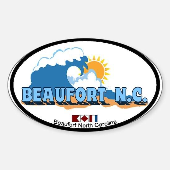 Beaufort NC - Waves Design Sticker (Oval)