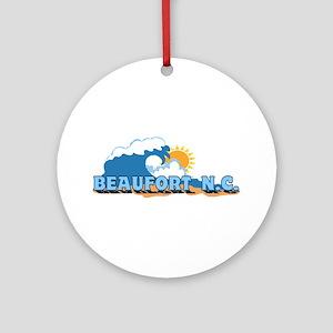 Beaufort NC - Waves Design Ornament (Round)