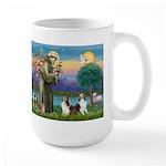 St Francis (W) - 2 Shelties (D&L) Large Mug