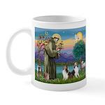 St Francis (W) - 2 Shelties (D&L) Mug