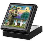 St Francis (W) - 2 Shelties (D&L) Keepsake Box