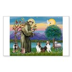 St Francis (W) - 2 Shelties (D&L) Sticker (Rectang
