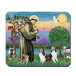 St Francis (W) - 2 Shelties (D&L) Mousepad