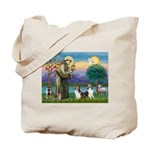 St Francis (W) - 2 Shelties (D&L) Tote Bag