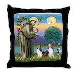 St Francis (W) - 2 Shelties (D&L) Throw Pillow