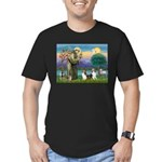 St Francis (W) - 2 Shelties (D&L) Men's Fitted T-S