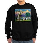 St Francis (W) - 2 Shelties (D&L) Sweatshirt (dark