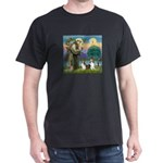 St Francis (W) - 2 Shelties (D&L) Dark T-Shirt
