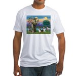 St Francis (W) - 2 Shelties (D&L) Fitted T-Shirt