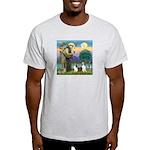 St Francis (W) - 2 Shelties (D&L) Light T-Shirt