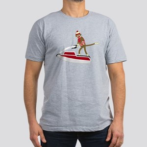 Sock Monkey Jet Ski Men's Fitted T-Shirt (dark)