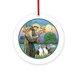St Francis (W) - 2 Shelties (D&L) Ornament (Round)