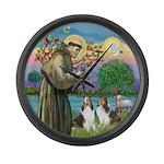 St Francis (W) - 2 Shelties (D&L) Large Wall Clock
