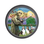 St Francis (W) - 2 Shelties (D&L) Wall Clock