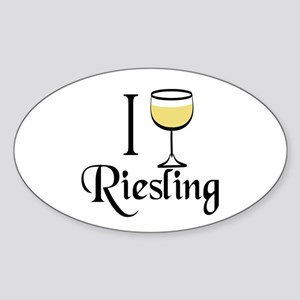 I Drink Riesling Wine Sticker (Oval)